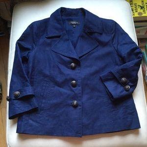 Talbots Navy Blue Linen Coat